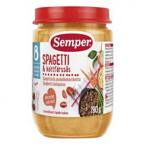 Semper  Бебешко пюре Спагети по болонски 8 м.+  190 гр. 9565